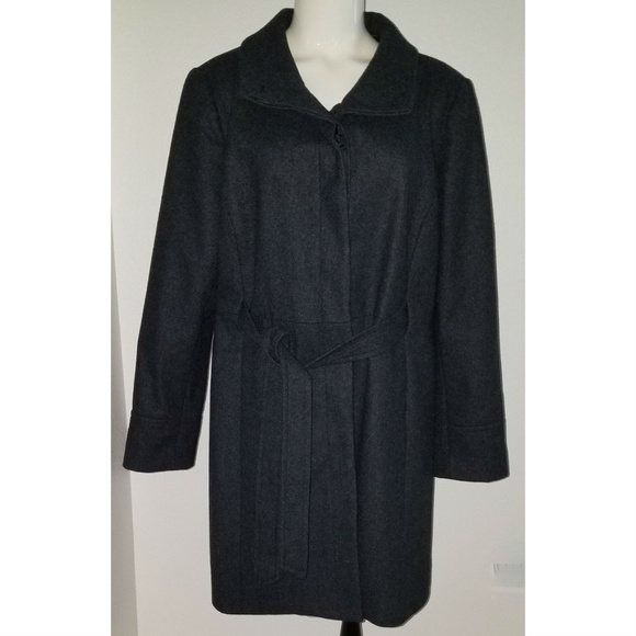 Old Navy Jackets & Blazers - Old Navy Charcoal Gray Wool Blend Coat XL Belted